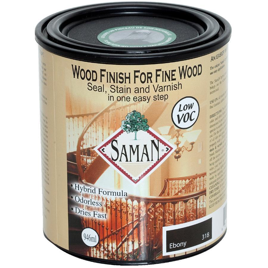 Saman: 946mL Ebony Interior Oil Based Seal Stain and Varnish Satin Alkyd Finish