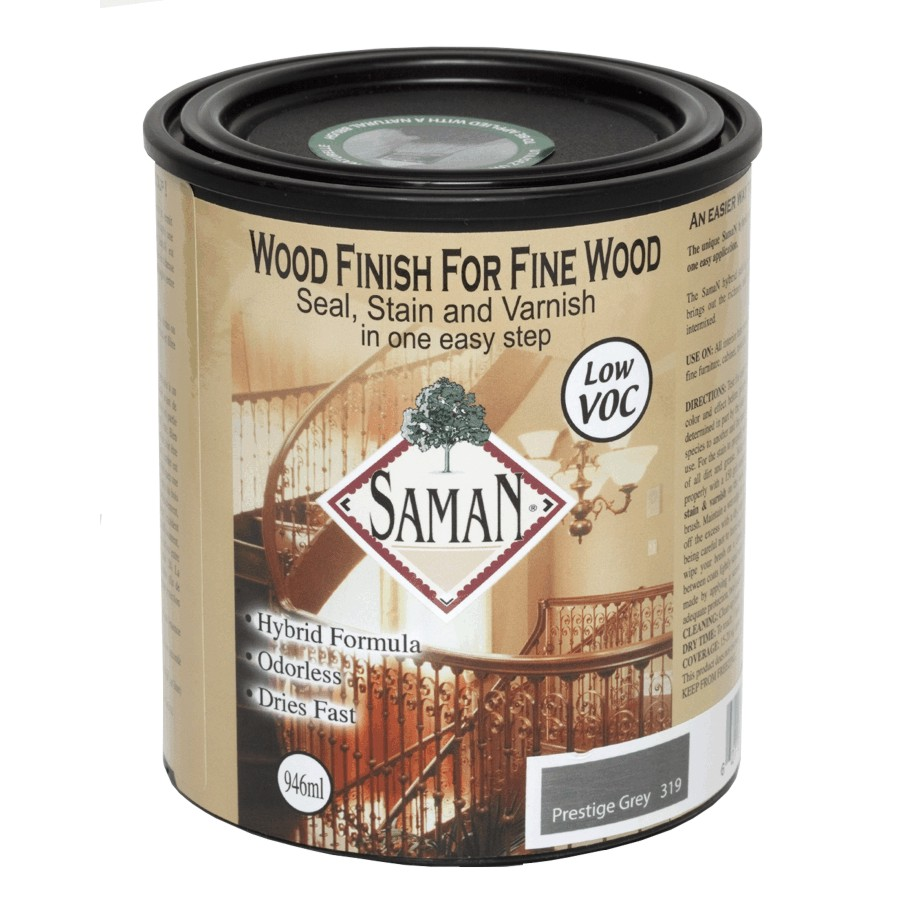 Saman: 946mL Prestige Grey Interior Oil Based Seal Stain and Varnish Satin Alkyd Finish