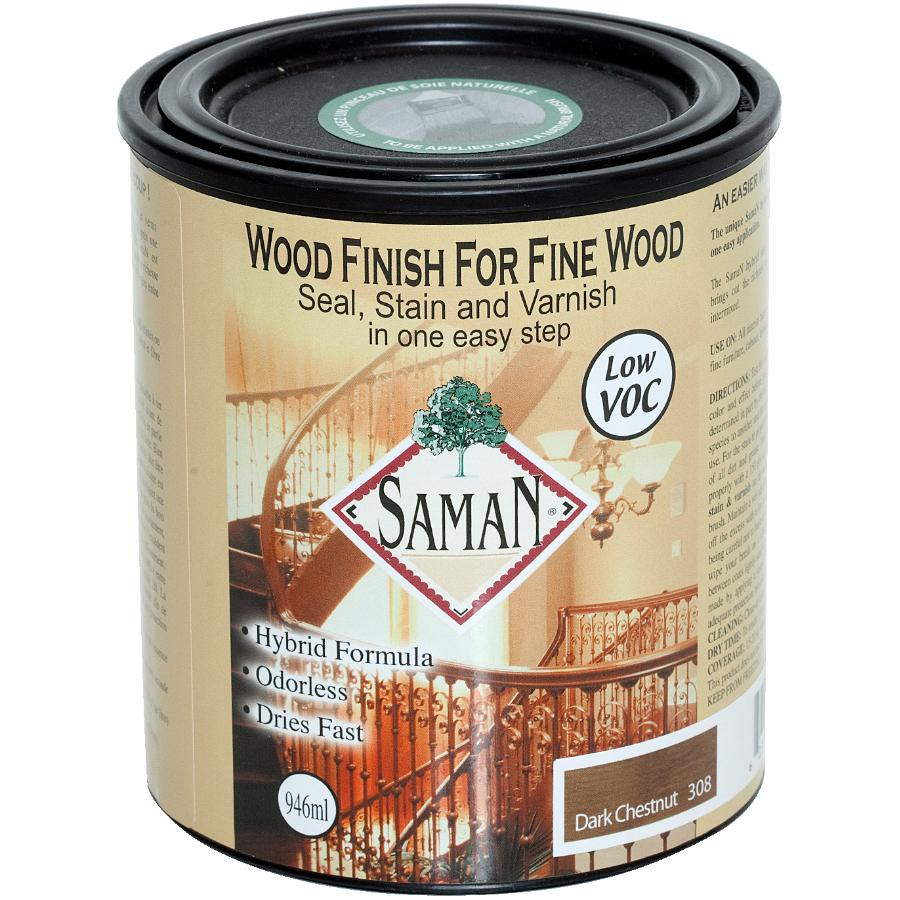 Saman: 946mL Dark Chestnut Interior Oil Based Seal Stain and Varnish Satin Alkyd Finish