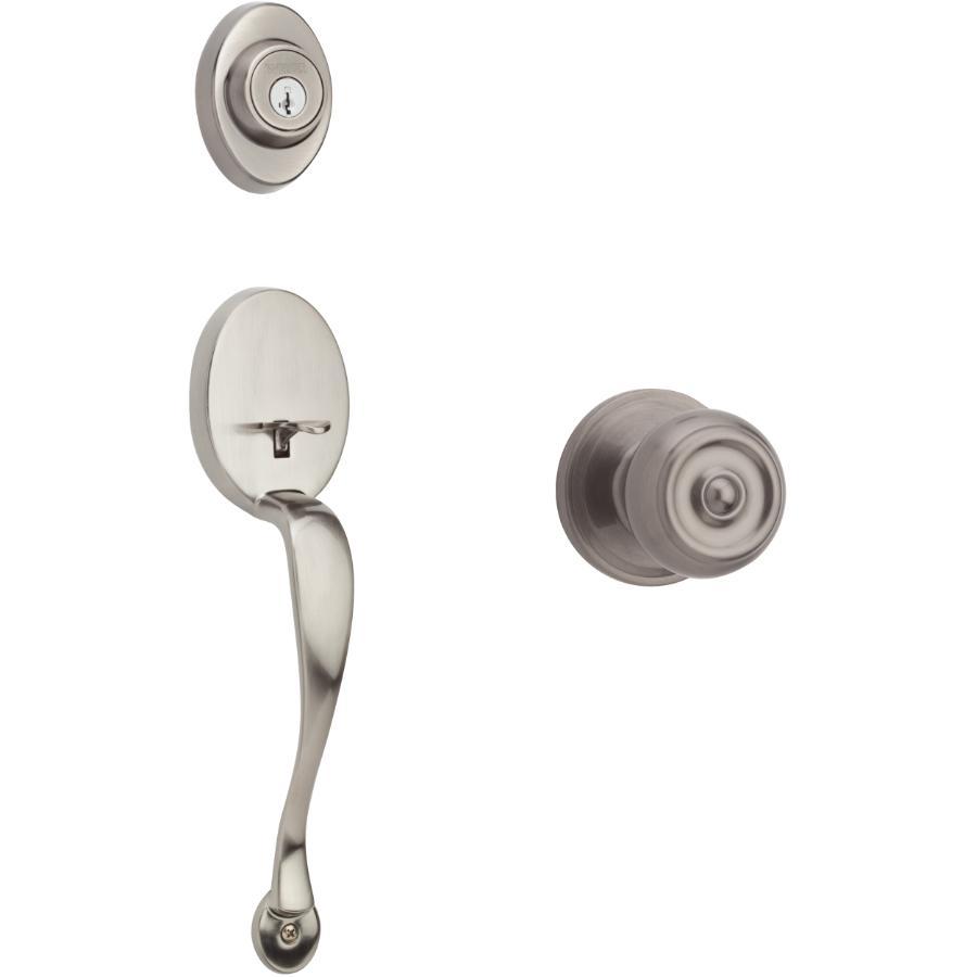 Weiser Lock Antique Nickel Augusta/Phoenix Smart Key Entrance Gripset