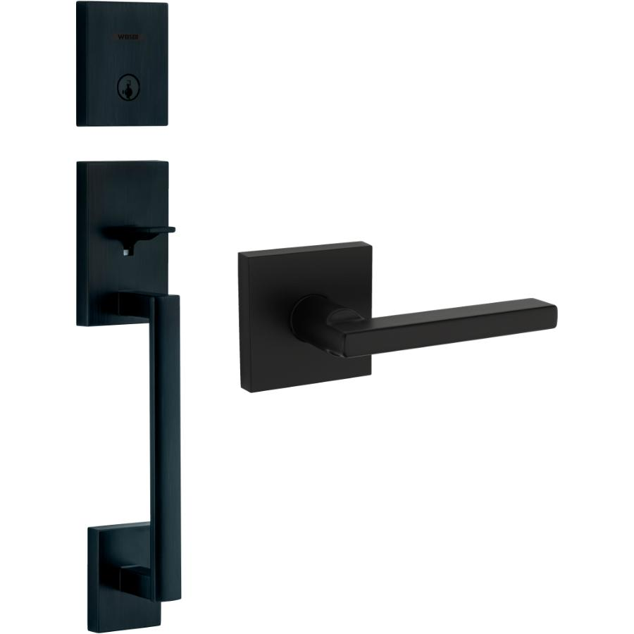 Weiser Lock Iron Black San Clemente/Halifax Smart Key Entrance Gripset