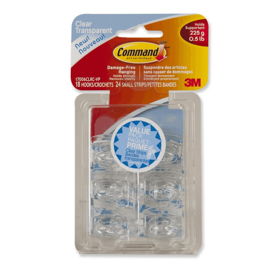 Command: 18 Hooks Plus 24 Strips Command Mini Clear Adhesive Hooks
