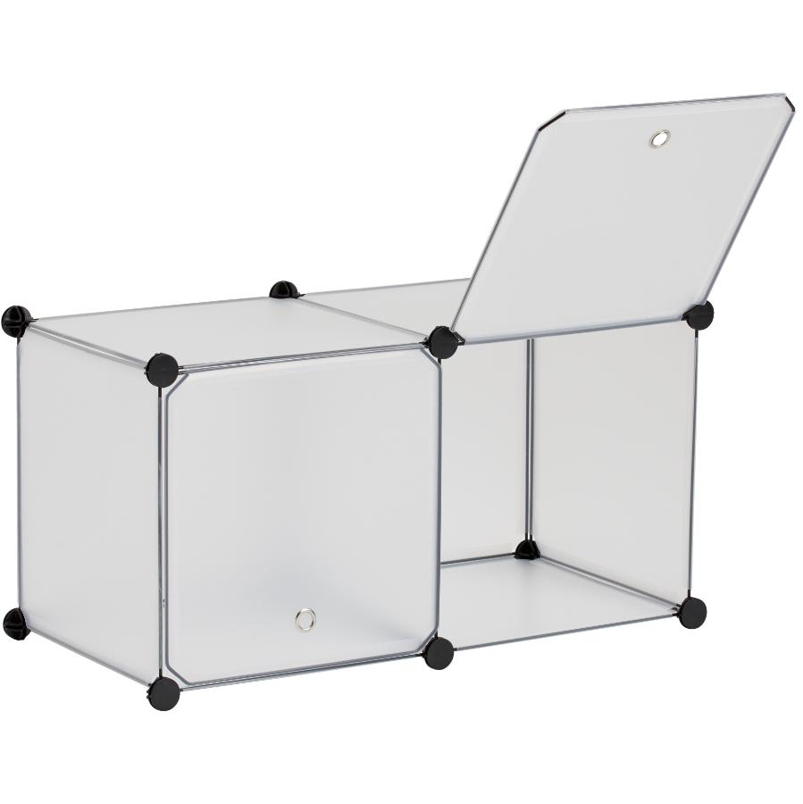 Homewares 2 Cube Grey Storage Organizer, with Doors