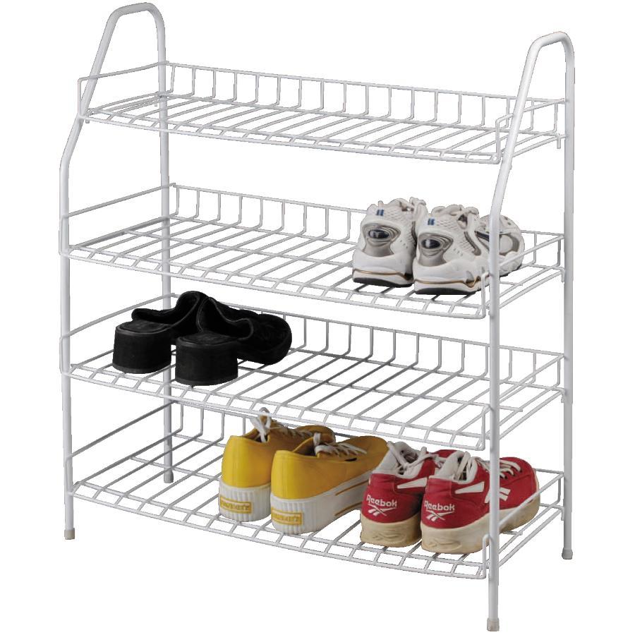 Generic 4 Tier White Metal Shoe Rack