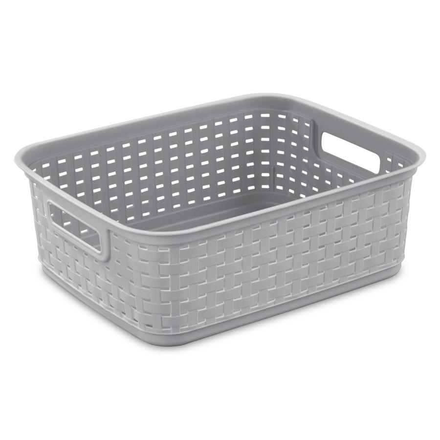 """Sterilite 15"""" x 12-1/4"""" x 5-1/4"""" Grey Plastic Storage Basket"""