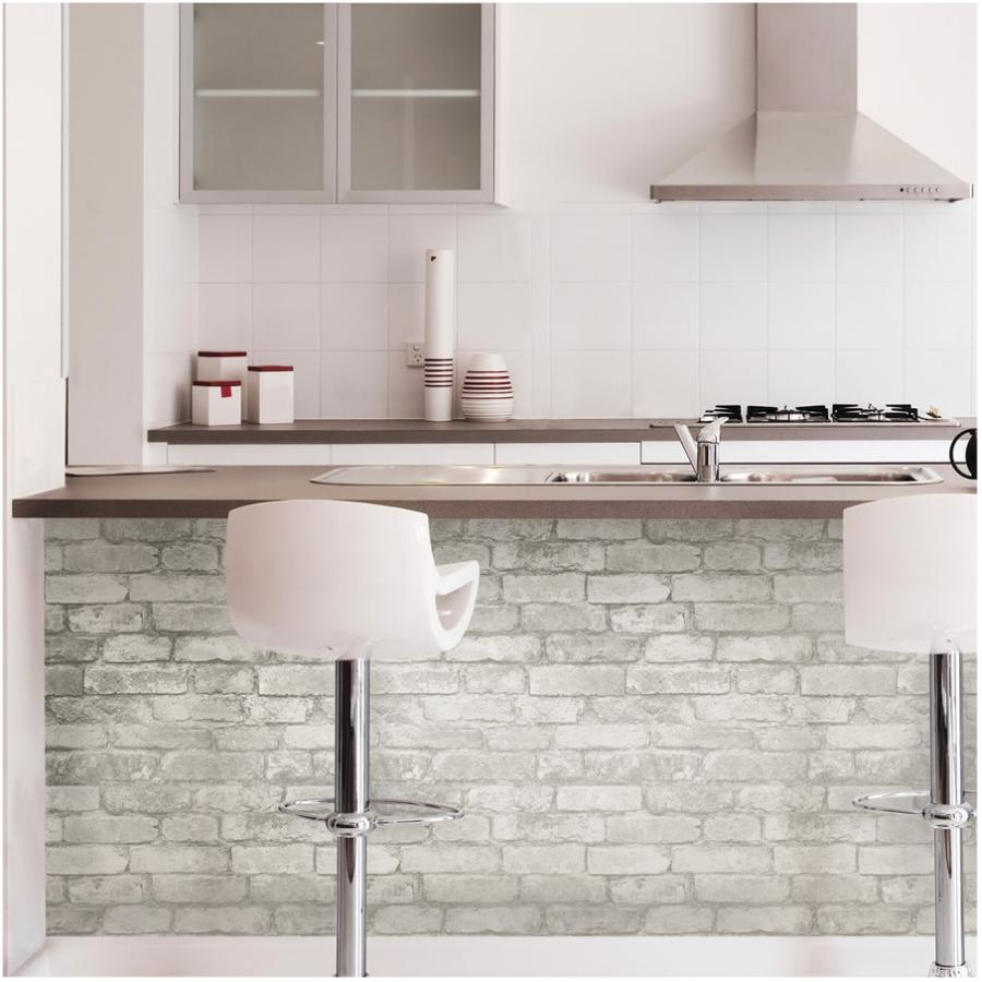 """Wallpops: 20.5"""" x 18' Grey and White Brick Peel and Stick Wallpaper"""