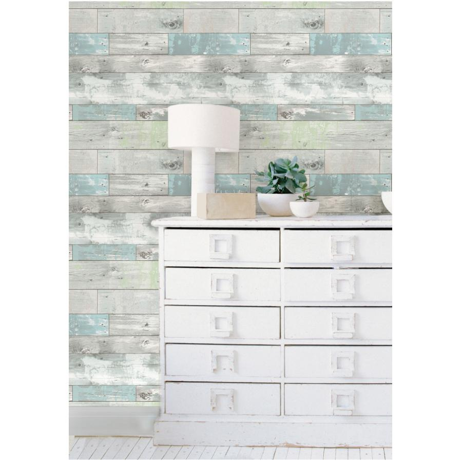 """Wallpops: 20.5"""" x 18' Blue and Green Beachwood Peel and Stick Wallpaper"""