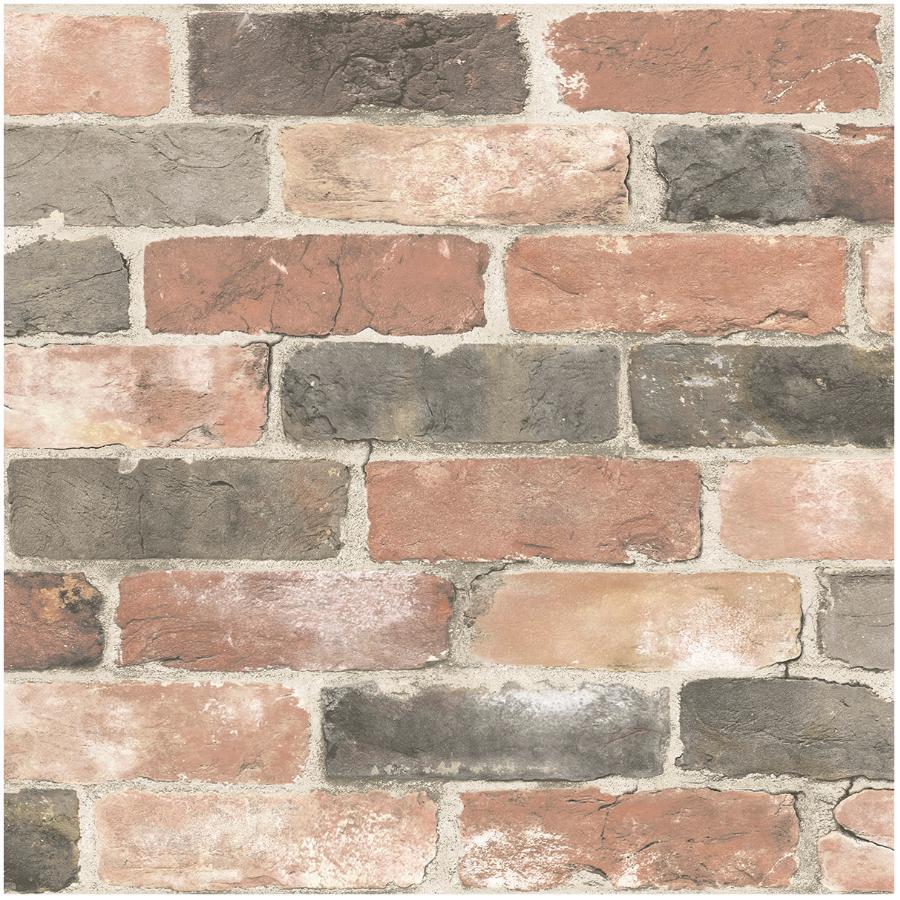 """Wallpops 20.5"""" x 18' Newport Reclaimed Brick Peel and Stick Wallpaper"""