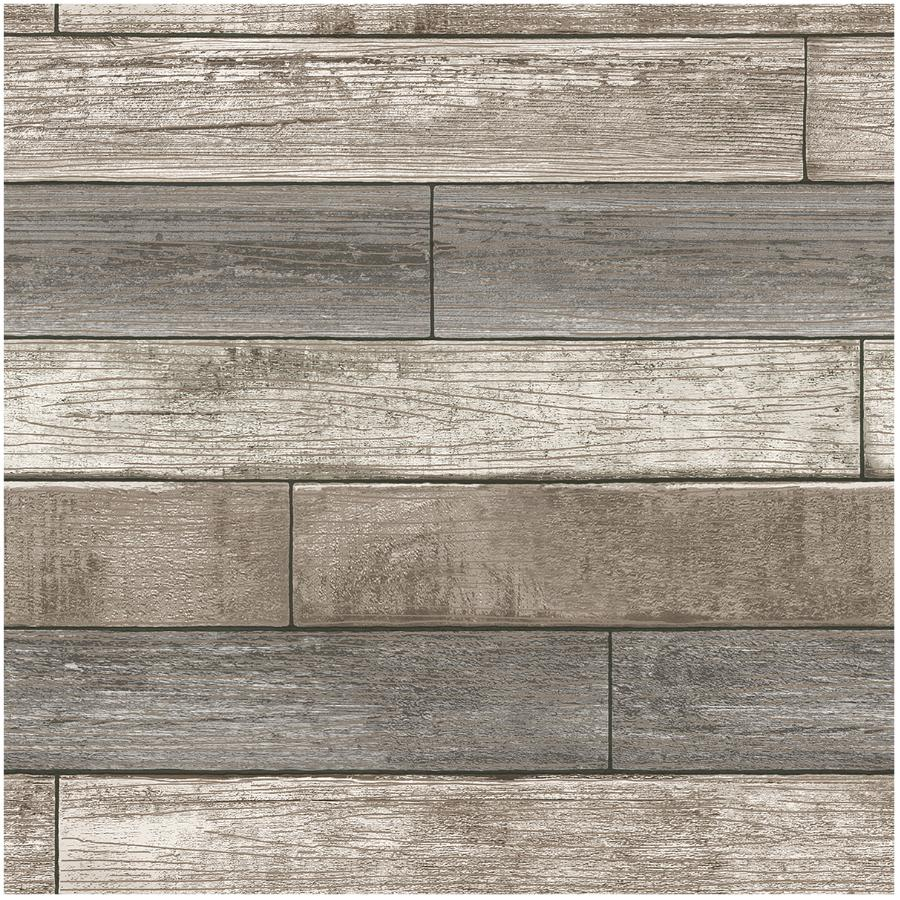 """Wallpops 20.5"""" x 18' Reclaimed Wood Plank Natural Peel and Stick Wallpaper"""