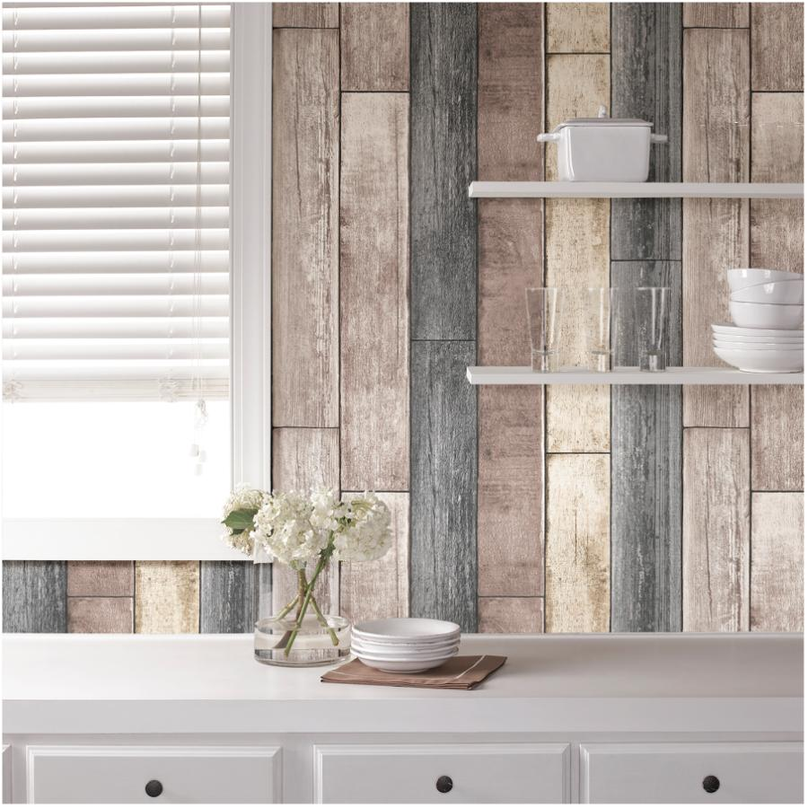 """Wallpops: 20.5"""" x 18' Reclaimed Wood Plank Natural Peel and Stick Wallpaper"""