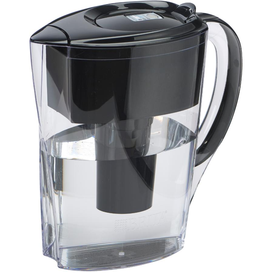 Brita 6 Cup Black Space Saver Water Pitcher with Filter