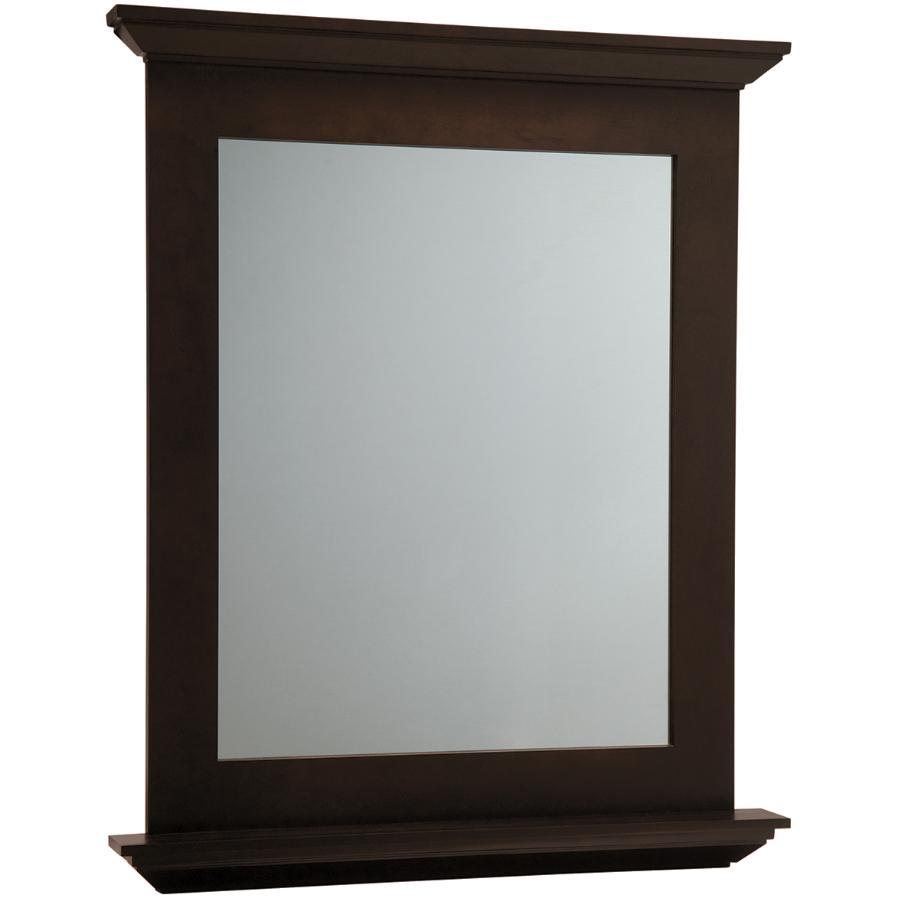 "Masterbrand Cabinets 30"" x 34"" Dark Roast Wall Hung Vanity Mirror"