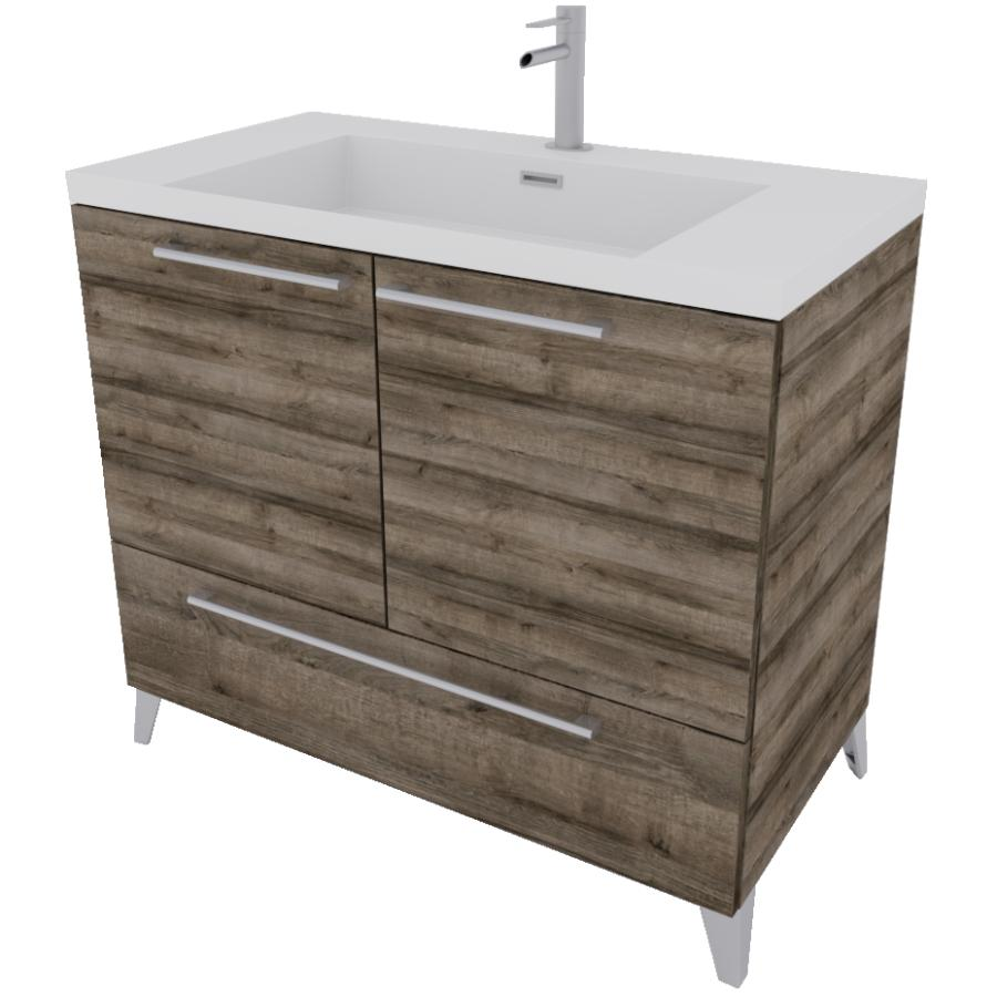 "BF VANITIES: 36"" x 19"" Malea Cassis 2 Door/1 Drawer Vanity ..."