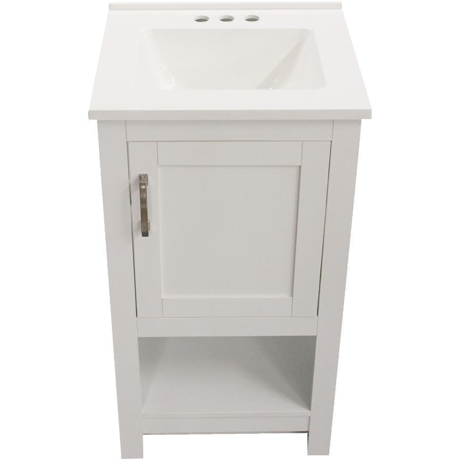 "FOREMOST 19"" x 17"" Laine 1 Door + 1 Shelf White Vanity, with Top"