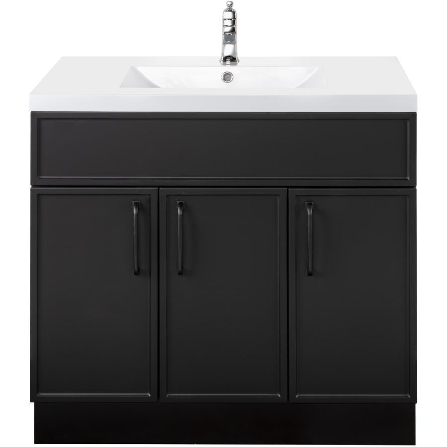 """Cutler Kitchen & Bath 36"""" 3 Door Spencer Vanity - with Cultured Marble Top, Black"""