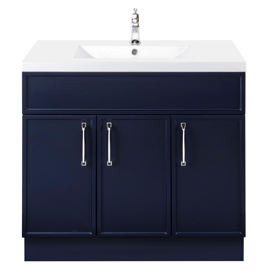 """Cutler Kitchen & Bath 36"""" 3 Door Spencer Vanity - with Cultured Marble Top, Blue"""