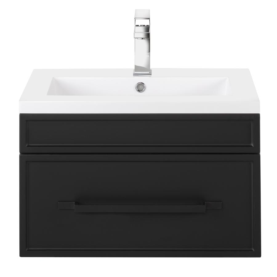 """Cutler Kitchen & Bath 24"""" Spencer Vanity - with Cultured Marble Top, Black"""