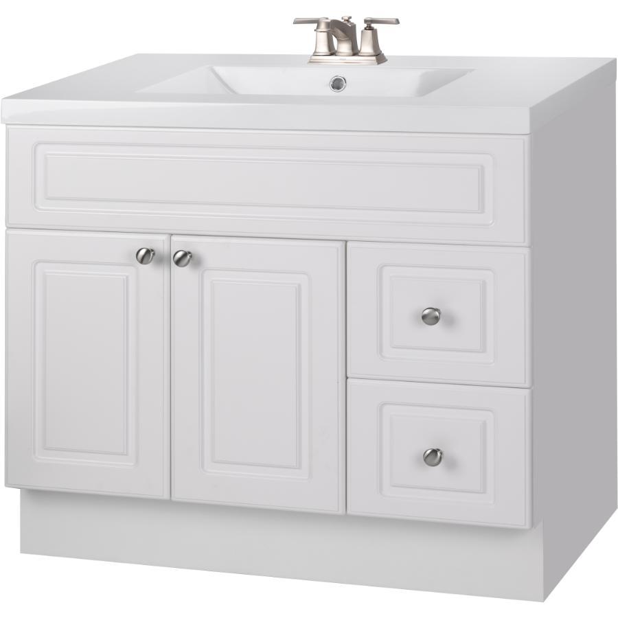"""CUTLER KITCHEN & BATH 36"""" x 21"""" Halifax White 2 Door 2 Drawer Vanity"""