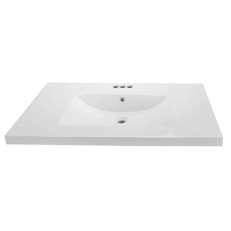 """Cutler Kitchen & Bath 36"""" x 21.25"""" White Cultured Marble Vanity Top"""