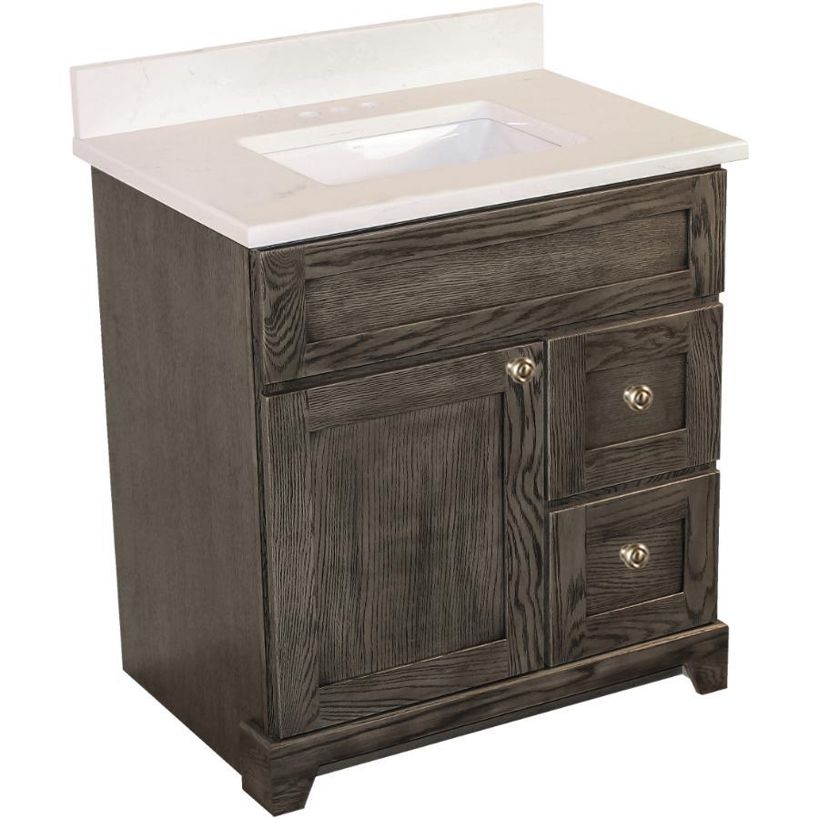 """STONEWOOD BATH CABINETRY Burlington 30"""" 1 Door 2 Drawer Grey Oak Vanity with Quartz Top"""