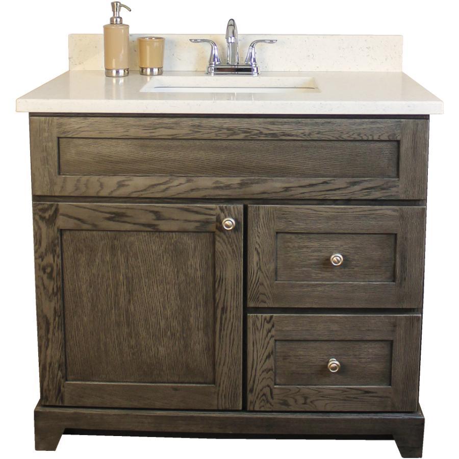"""STONEWOOD BATH CABINETRY Burlington 36"""" 1 Door 2 Drawer Grey Oak Vanity with Quartz Top"""