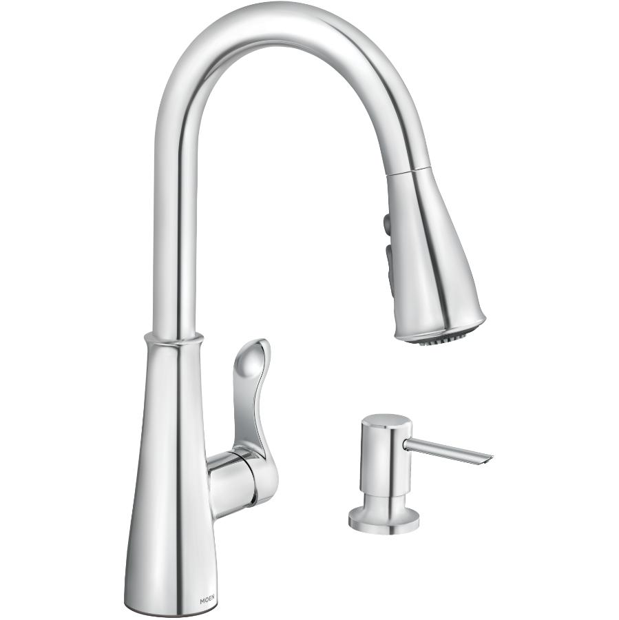 Moen Hadley 1,2,3 or 4 Hole Pull Out Chrome Faucet Deck with Soap Dispenser