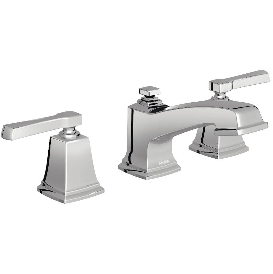"Moen Boardwalk 8"" to 16"" Chrome 2 Lever Handle Widespread Lavatory Faucet"