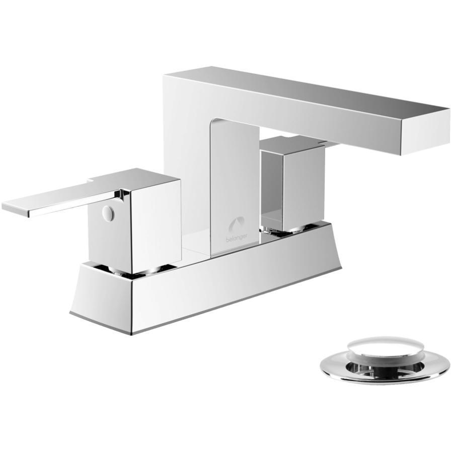 Essential: Quadrato 3 Hole Chrome 2 Lever Handle Lavatory Faucet