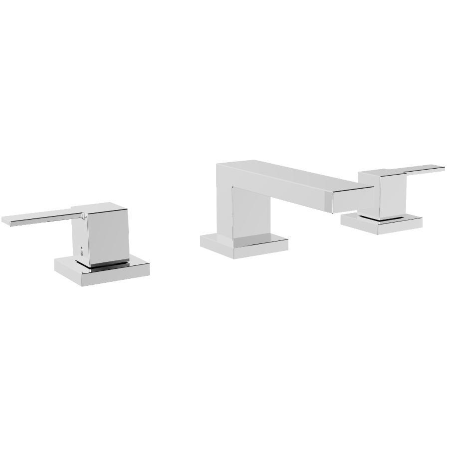 Essential Quadrato Widespread 3 Hole Chrome 2 Lever Handle Lavatory Faucet