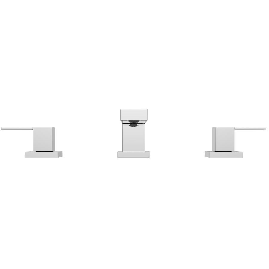 Essential: Quadrato Widespread 3 Hole Chrome 2 Lever Handle Lavatory Faucet