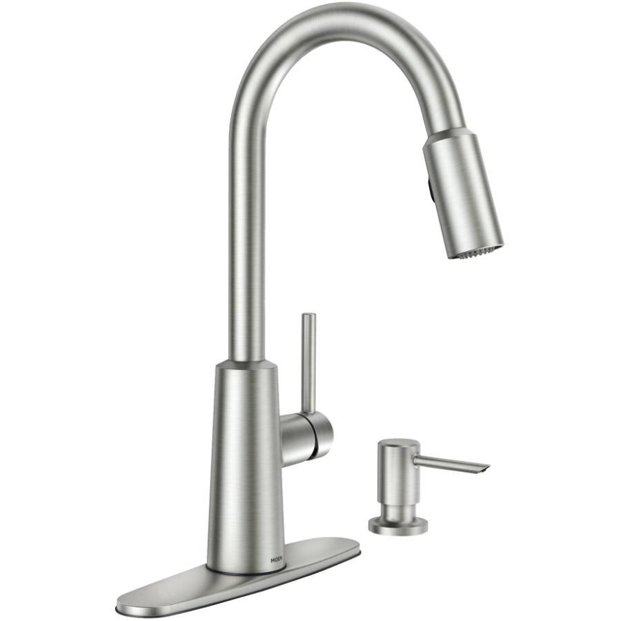Moen Nori Single Lever Spot Resist Stainless Pulldown Faucet Deck, with Soap Dispenser