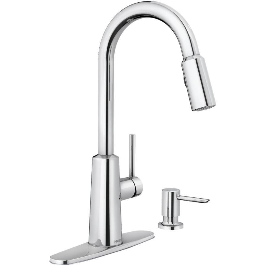 Moen Nori Single Lever Chrome Pulldown Faucet Deck, with Soap Dispenser