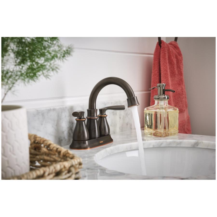 Moen: Hilliard 3 Hole Mediterranean Bronze 2 Lever Handle Lavatory Faucet