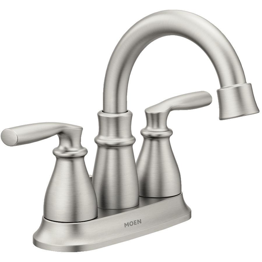 Moen: Hilliard 3 Hole Spot Resist Brushed Nickel 2 Lever Handle Lavatory Faucet