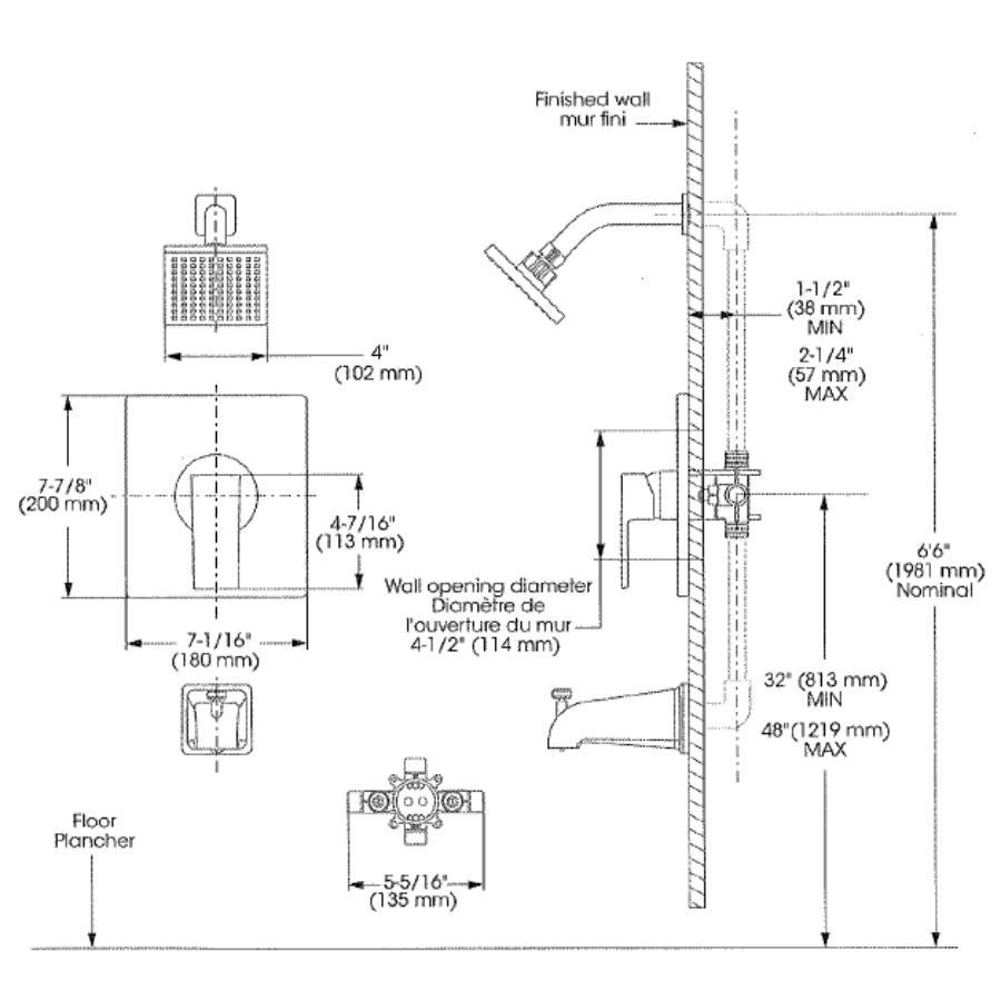 Essential: Chrome Single Lever Quadrato Pressure Balance Square Design Tub and Shower Faucet