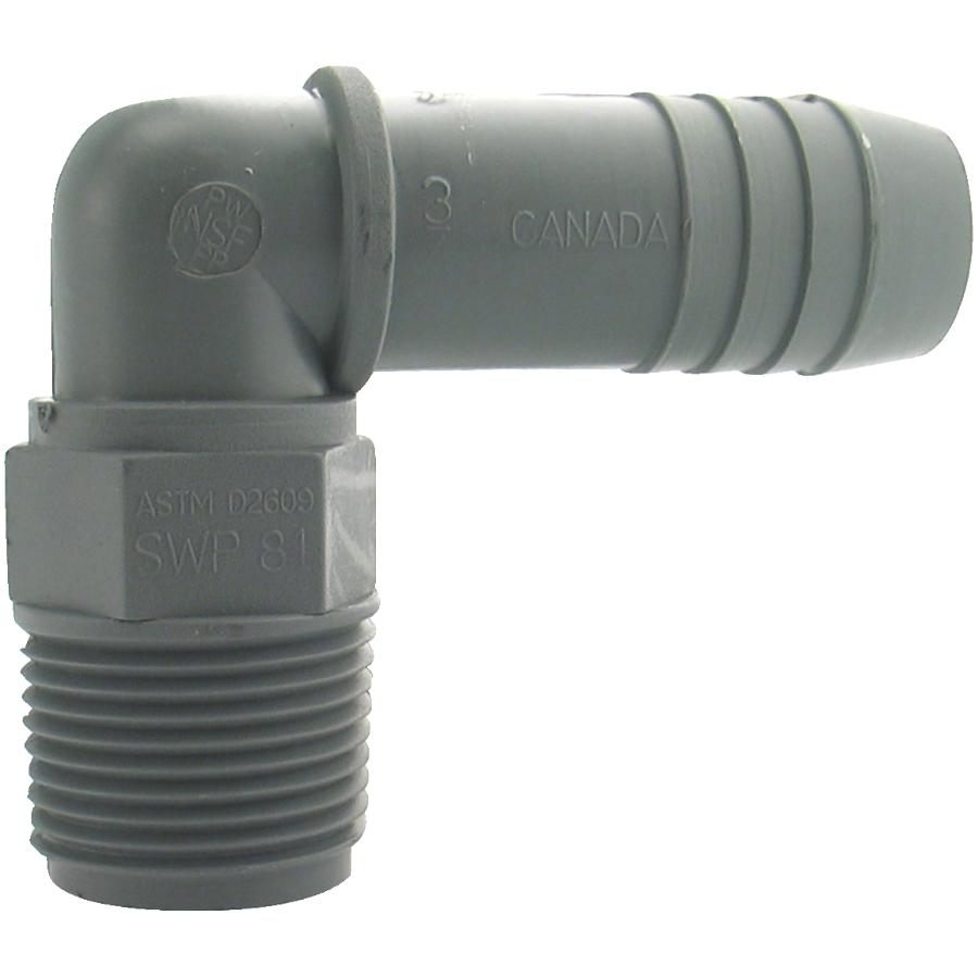 """Plumb-eeze 3/4"""" Insert x Male Pipe Thread Poly Elbow"""
