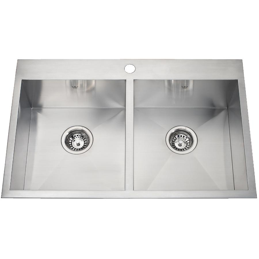"KURAIDORI 31"" x 20"" x 8"" Double Squared Bowl 1 Hole Stainless Steel Kitchen Sink"