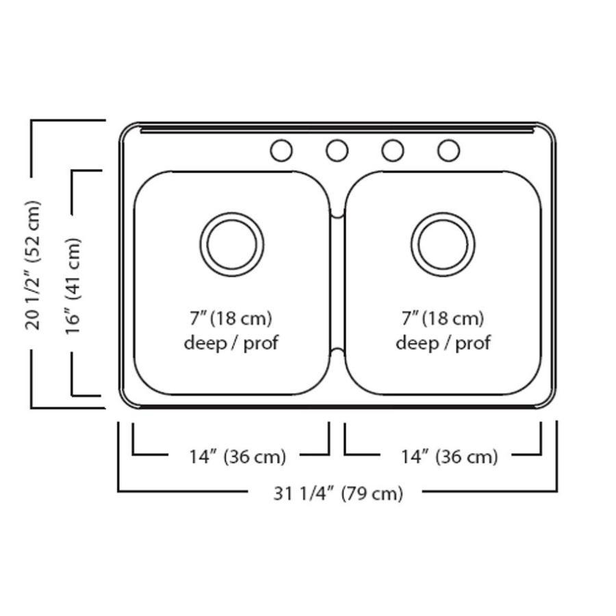 """KURAIDORI 31-1/4"""" x 20-1/2"""" x 7"""" Double Stainless Steel 3 Hole Kitchen Sink"""