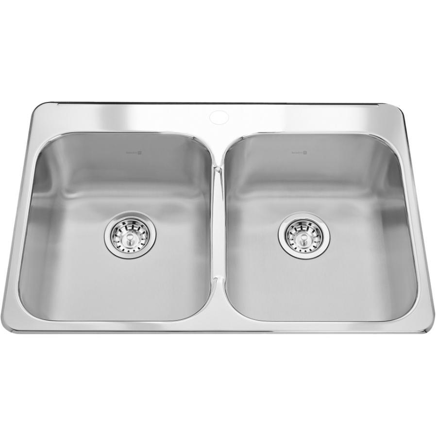 """KURAIDORI 31-1/4"""" x 20-1/2"""" x 7"""" Double Stainless Steel 1 Hole Kitchen Sink"""