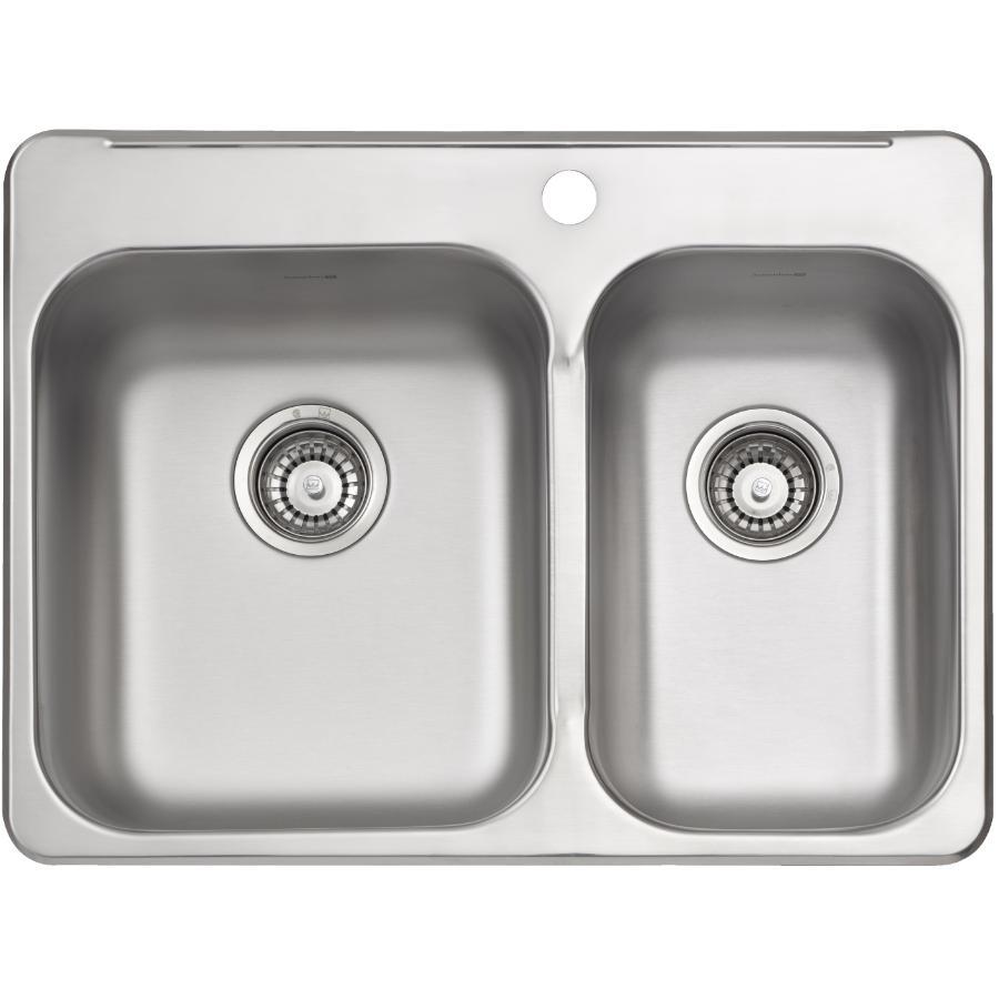 "KURAIDORI 27-1/4"" x 20-9/16"" x 7"" Stainless Steel One and a Half Bowl 1 Hole Kitchen Sink"