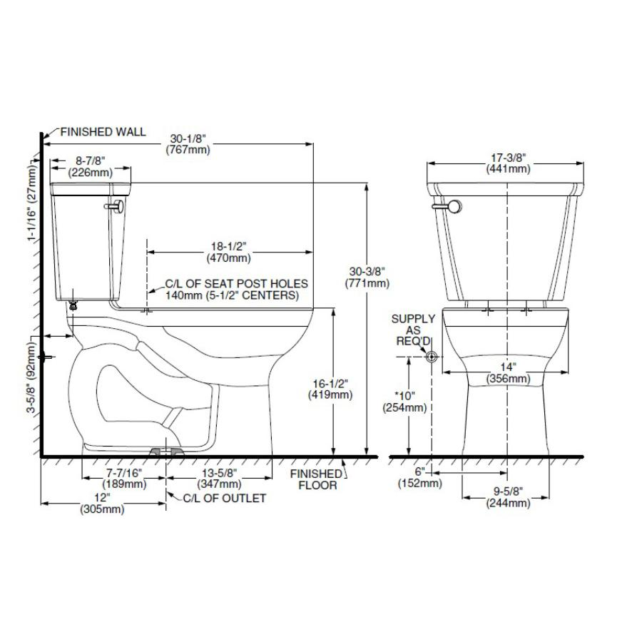 """American Standard: 16.5"""" Cadet Pro 4.8L White Right Height Elongated Bowl Toilet"""