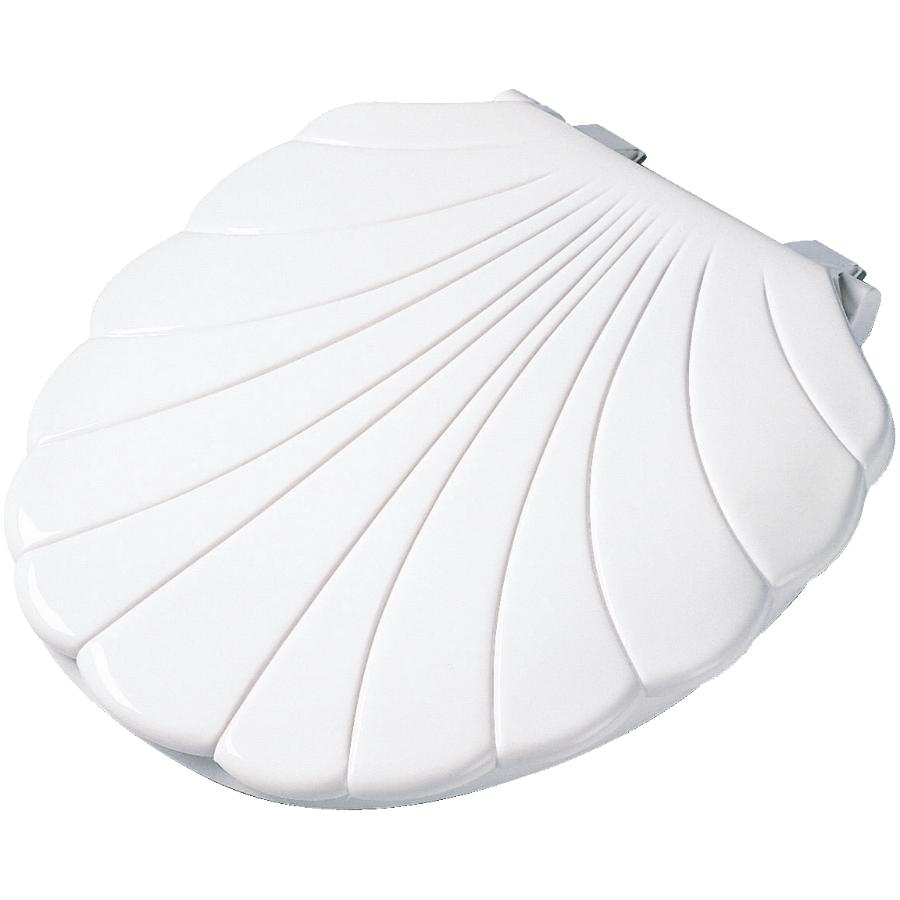 Peter Anthony Shell Design White Plastic Toilet Seat