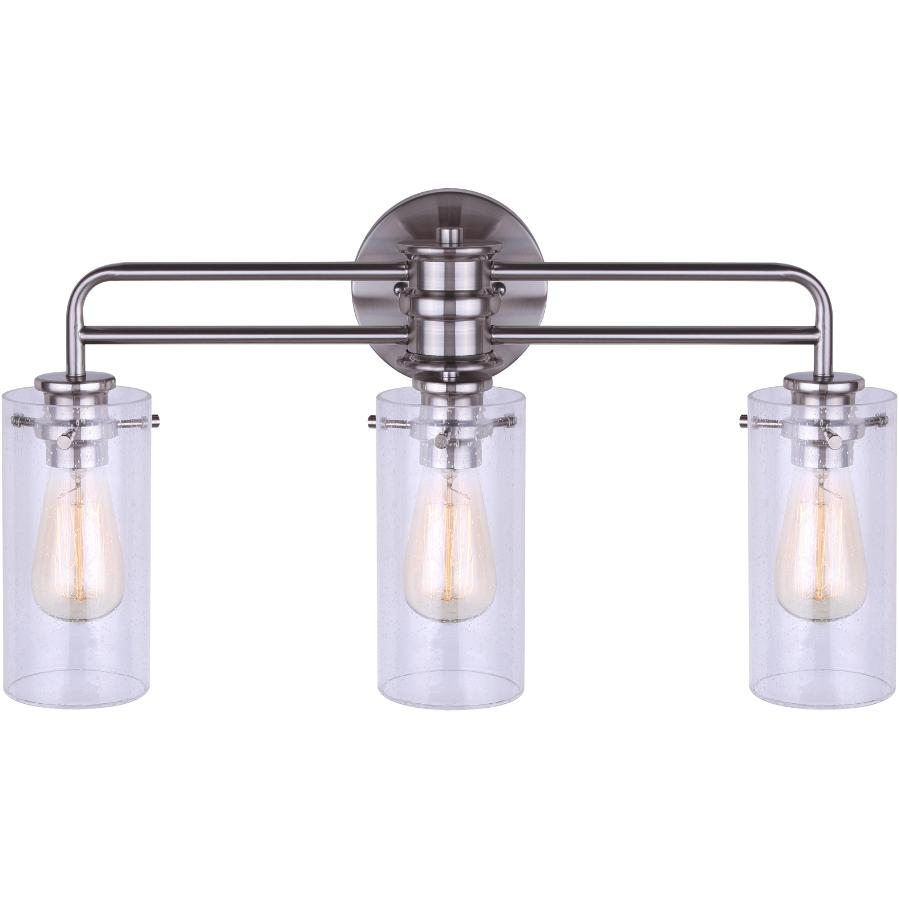 CANARM Albany 3 Light Brushed Nickel Vanity Light Fixture, with Seeded Glass Shade
