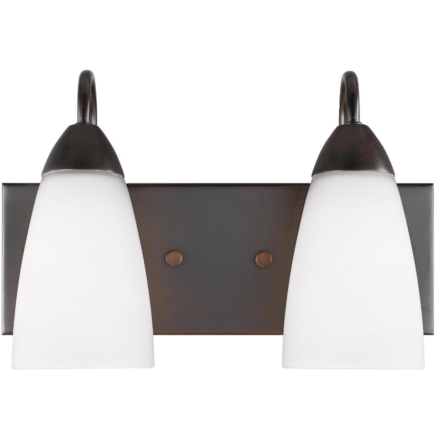 Sea Gull Seville 2 Light Burnt Sienna Vanity Light Fixture, with Etched Glass
