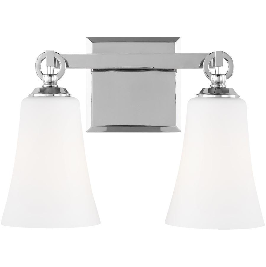 Feiss Monterro 2 Light Chrome Vanity Light Fixture, Opal Glass