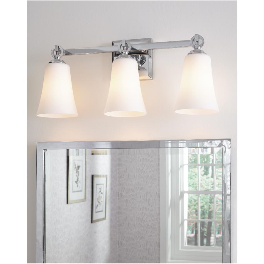 Feiss Monterro 3 Light Chrome Vanity Light Fixture, Opal Glass