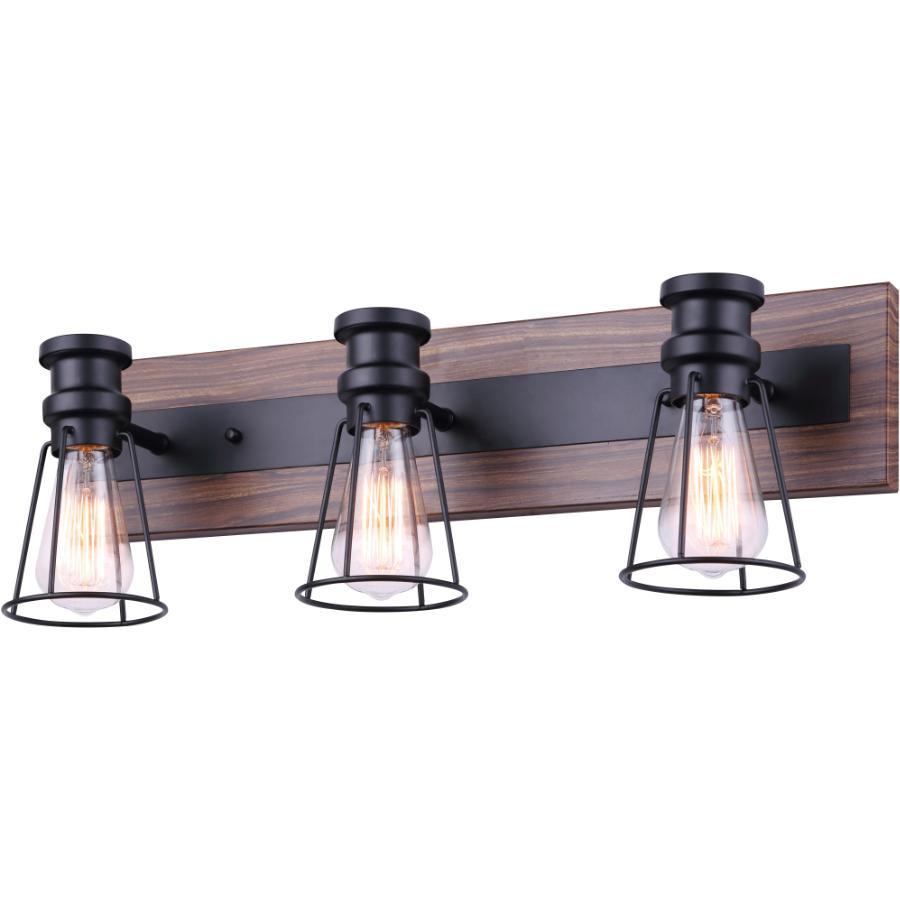 Canarm Blake 3 Light Matte Black/Faux Wood Vanity Light Fixture