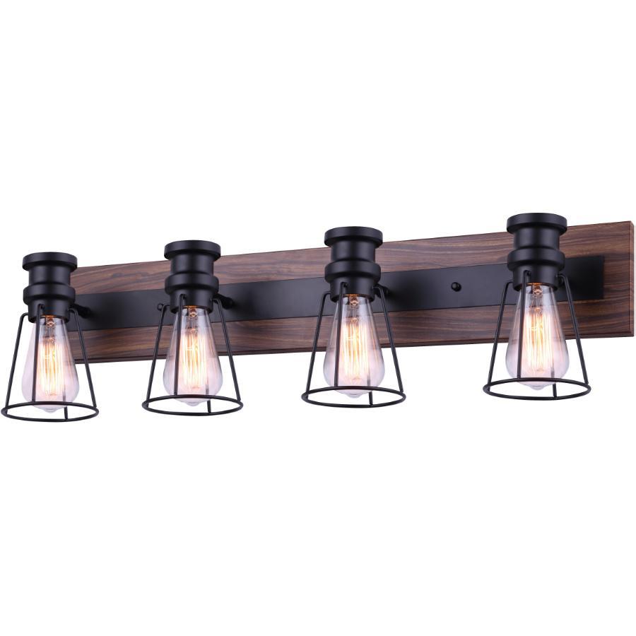 Canarm Blake 4 Light Matte Black/Faux Wood Vanity Light Fixture
