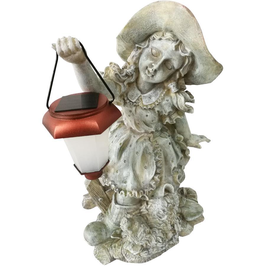 """Vectacor 18"""" Solar Girl with Lantern Garden Statue"""