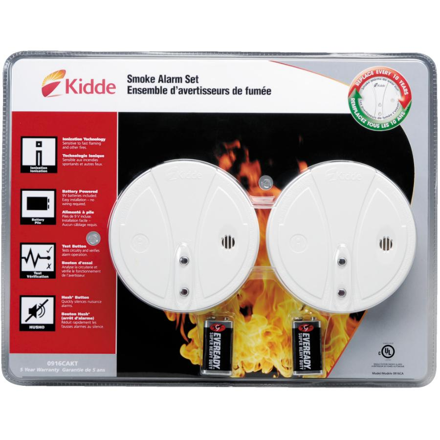 KIDDE: 2 Pack Battery Operated Smoke Detectors, with Hush Buttons